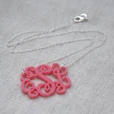 personalized monogram necklace 3 initials monogram necklace 1 5 inch vine personalized monogram