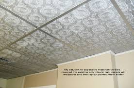 Textured Wallpaper Ceiling by Cover Ugly Drop Ceiling Panels With Textured Wallpaper And Then