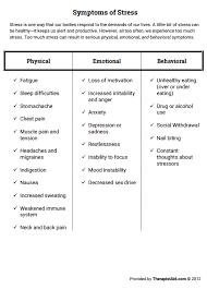 stress worksheet worksheets