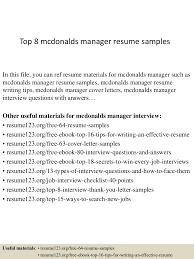 Mcdonalds Resume Skills Top8mcdonaldsmanagerresumesamples 150410092813 Conversion Gate01 Thumbnail 4 Jpg Cb U003d1428676142
