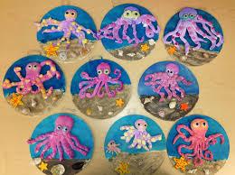 clay octopus on wood w sand elementary art art teacher v