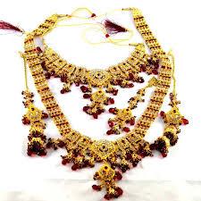 gold har set buy gold platted bridal necklace set with rani har mang tika