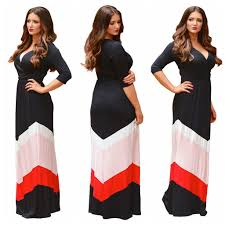 bohemia v neck beach plus size maxi dresses striped print chiffon