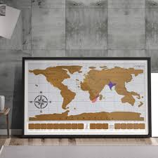 home decor accessories eutuxia travel scratch world map 34x20 inch track places where you ve