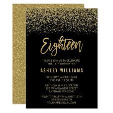 modern black gold faux glitter 18th birthday card zazzle com