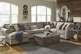 Bench Craft Leather Inc Pantomine Driftwood Laf Large Chaise Sectional From Ashley