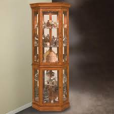 curio cabinet lighted corner curio cabinets cherry cabinet wood