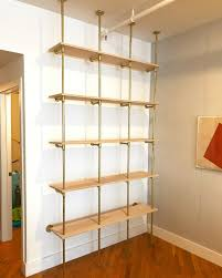 butcher block and steel pipe standing desk birch plywood black pipe shelves