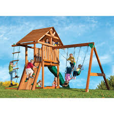 Backyard Swing Sets Canada Backyard Discovery Skyfort Ii Wooden Cedar Swing Set Photo With