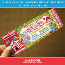 Free Online Birthday Invitation Card Maker Circus Carnival Printable Birthday Invitation Ticket Style