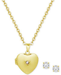 childrens necklace children s cubic zirconia heart locket pendant necklace stud