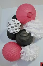she s crafty paris themed bedroom party decorations pink and black paper lanterns paper pom poms