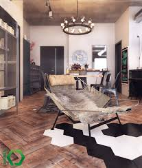 loft design by industrial kitchen area wooden floor leather lounge chair shelves
