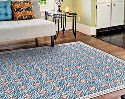 Vinyl Area Rugs Vinyl Floor Mat With Decorative Tiles Pattern In Blue