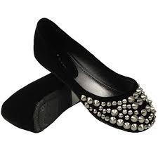 Comfortable Black Ballet Flats Ballet Flats Suede Spiked Studded Casual Comfort Slip On Black