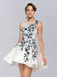 fancy floral sequin appliques jewel neck short prom dress 11239788