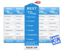 freebie pricing table psd template