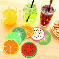 drop shipping home decor wholesale cute colorful silicone fruits coaster cup cushion