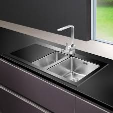 Astini Celso  Bowl Black Glass Kitchen Sink Amp Waste ASBLKL - Black glass kitchen sink