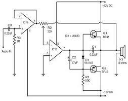 15 w class b audio amplifier circuit diagram amplifier circuit