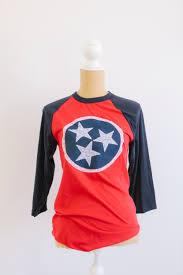 Tennesse Flag Women U0027s Lace Tn Flag Inspired Tri Star 3 4 Sleeve Baseball T Shirt