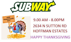 we are open on thanksgiving day subway
