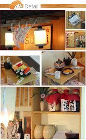 wooden dollhouse miniature simulation sushi bars model diy kit