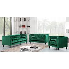 Tufted Modern Sofa by Meridian Furniture 642green C Taylor Green Velvet Arm Chair W
