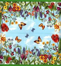 decoupage paper napkins of summer garden tulips butterflies