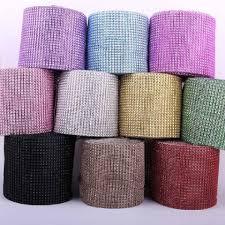 ribbon trim pink 10 yards 24 rows diamond mesh wrap roll rhinestone