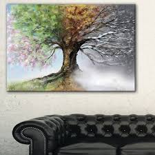 design tree with four seasons tree painting canvas print