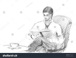 pencil drawing young man reading book stock illustration 98237024