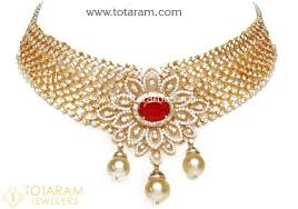 indian chokers necklace images 18k gold choker diamond necklace earrings set with ruby ds560 jpg