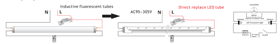 rewire fluorescent light for led dualrays 13w 3ft t8 univeal evg kvg vvg ac direct input t8 led