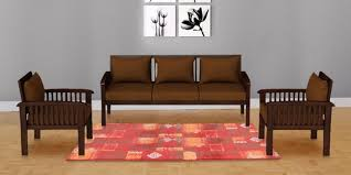 Buy Atlantis Teak Wood Sofa Set  In Mahogany Finish By - Teak wood sofa sets