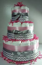 pink and silver baby shower 3 tier cake pink silver white chevron girl baby shower