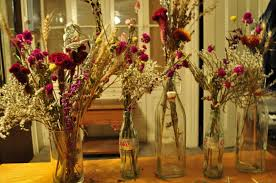 table decoration for thanksgiving decorations beautiful flowers on recycled empty bottle for