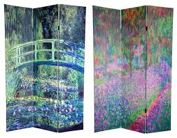 Canvas Room Divider Double Sided Water Lily U0026 Garden Canvas Room Divider