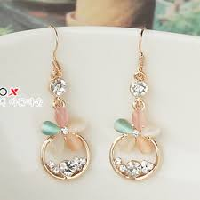 korean earings high quality korean jewelry earrings cat eye flower flash diamond