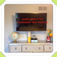 wall mounted tv hiding cables diy how to hide cords from flat screen no tools youtube