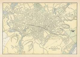 Ma Map Original 1900 Street Map Worcester Massachusetts Lunatic Hospitals