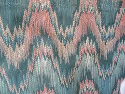 Ikat Home Decor Fabric by Missoni Like Fabric Flame Stitch Ikat Zig Zag Pink Teal Upholstery
