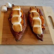 savory sweet baked yams with marshmallows