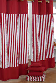 interior beautiful red white fabric striped window curtain