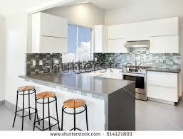 modern kitchen white bar stools grey stock photo 514121803
