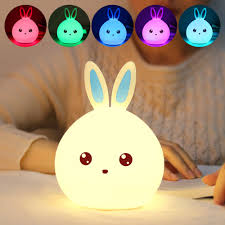 cute bedroom lights colorful rabbit silicone lamp rechargeable led light cute night