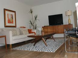 Paint Laminate Wood Floor Mid Century Eclectic Living Room White Tile Pattern Painted Wall