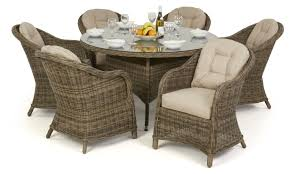 maze rattan winchester 6 seat round dining set round chairs