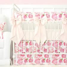 Pink Floral Crib Bedding Harlow S Watercolor Bumperless Crib Bedding Caden