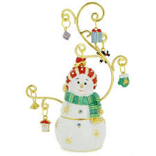 christmas gift snowman swarovski crystal jewelry trinket box